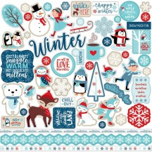 "Echo Park Celebrate Winter 12""x12"" Element Shape Stickers CW162014"