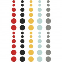 Simple Stories Say Cheese II Enamel Dots - red, black, yellow, blue, gold glitter 4331