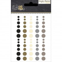 Simple Stories The Story of Us Enamel Dots - Black, Gold, Ivory, Silver, Grey 5931