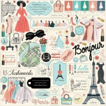 "Carta Bella En Vogue 12""x12"" Die-cut Cardstock Element Stickers EV103014"