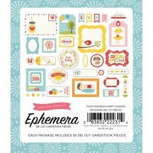 Echo Park Happy Summer Ephemera Die Cut Cardstock Pieces HS105024