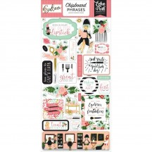 Echo Park Salon Self Adhesive Chipboard Phrases Stickers SAL196022