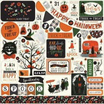 "Echo Park Trick or Treat Halloween 12""x12"" Element Shape Stickers TT186014"