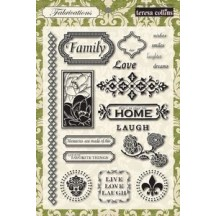 "Teresa Collins 5""x7"" Clear Stamp Set - Fabrications Linen"