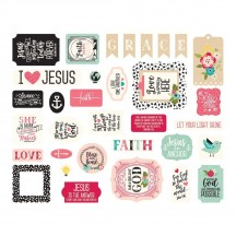 Echo Park Forward with Faith Ephemera Die Cut Cardstock Pieces WF183024