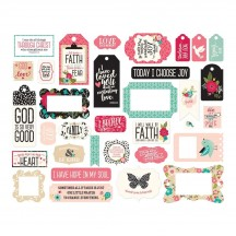 Echo Park Forward with Faith Frames & Tags Ephemera Die Cut Cardstock Pieces WF183025