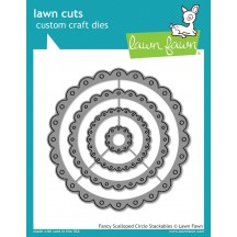Lawn Fawn Cuts Fancy Scalloped Circle Universal Custom Craft Cutting Dies LF1321