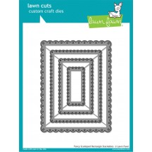 Lawn Fawn Cuts Fancy Scalloped Rectangle Universal Custom Craft Cutting Dies LF1322