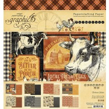 "Graphic 45 Farmhouse Designer 8""x8"" Paper Pad 4502058"