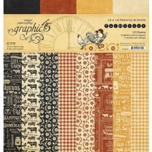 "Graphic 45 Farmhouse Patterns & Solids 12""x12"" Paper Pad 4502060"