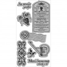 Graphic 45 French Country 2 Rubber Cling Stamps by Hampton Art IC0216