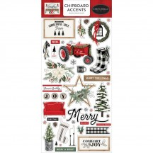 Carta Bella Farmhouse Christmas Self Adhesive Chipboard Accents Stickers FAC123021