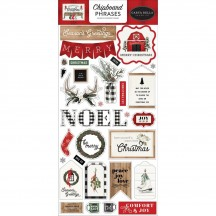 Carta Bella Farmhouse Christmas Self Adhesive Chipboard Phrases Stickers FAC123022