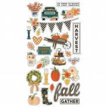 Simple Stories Fall Farmhouse Self Adhesive Chipboard Shape Stickers 11119