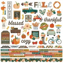"Simple Stories Fall Farmhouse 12""x12"" Combo Element & Word Stickers 11101"