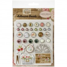 Carta Bella Farmhouse Market Decorative Brads & Chipboard Pieces FAR113020