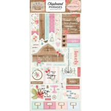 Carta Bella Farmhouse Market Self Adhesive Chipboard Phrases Stickers FAR113022