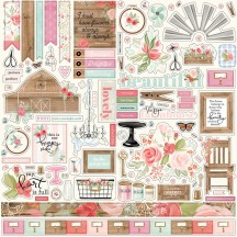 "Carta Bella Farmhouse Market 12""x12"" Die-cut Cardstock Element Stickers FAR113014"