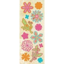 K&Co Urban Rhapsody Glitter-Covered Flowers Adhesive Chipboard