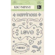 K&Co Elegance Foil Words and Swirls Embossed Stickers