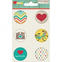 Simple Stories I Heart Summer Flair Icon Button Badge Embellishment Stickers 3229