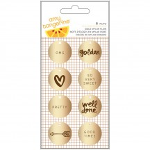 American Crafts Amy Tangerine Finders Keepers Gold Mylar Flair Embellishments 340246