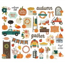 Simple Stories Fall Farmhouse Bits & Pieces Die-Cut Cardstock Embellishments 11120