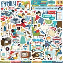 "Carta Bella Family Night 12""x12"" Die-cut Cardstock Element Stickers FN114014"