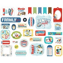 Carta Bella Family Night Ephemera Die Cut Cardstock Pieces FN114024
