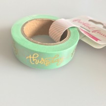 Freckled Fawn Gold Foil Days Of The Week On Mint Designer Washi Tape