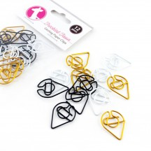 Freckled Fawn Classic Geotag Metal Paper Clips - White, Black, Gold