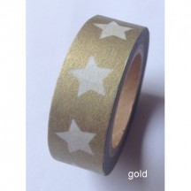 Freckled Fawn Gold with White Stars Designer Washi Tape 10m