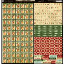 "Graphic 45 Twelve Days Of Christmas 12""x12"" Die-cut Cardstock Alphabet Stickers 4500739"