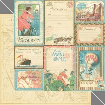 "Graphic 45 Come Away With Me Double-sided 12""x12"" Cardstock - Vintage Voyage 4500919"