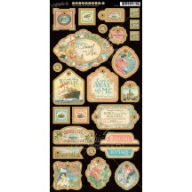 Graphic 45 Come Away With Me Decorative Die-Cut Chipboard Elements Sheet 4500926