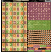 "Graphic 45 An Eerie Tale 12""x12"" Die-cut Cardstock Alphabet Stickers 4500951"