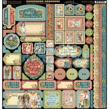 """Graphic 45 Penny's Paper Doll Family 12""""x12"""" Die-cut Cardstock Element Stickers 4501594"""