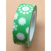 Freckled Fawn Green with White Snowflake Christmas Designer Washi Tape 10m