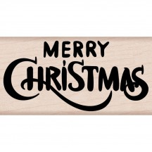 Hero Arts Merry Christmas Calligraphy Wood Mounted Rubber Stamp H6178