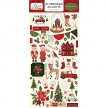Carta Bella Hello Christmas Self Adhesive Chipboard Accents Stickers HC124021