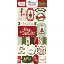 Carta Bella Hello Christmas Self Adhesive Chipboard Phrases Stickers HC124022