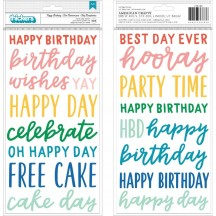 Pebbles Happy Cake Day Happy Birthday Matte Puffy Phrase Thickers 736783