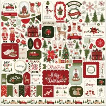 "Carta Bella Hello Christmas 12""x12"" Die-cut Cardstock Element Stickers HC124014"