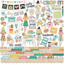 "Simple Stories Hey, Crafty Girl 12""x12"" Combo Element & Word Stickers 11901"