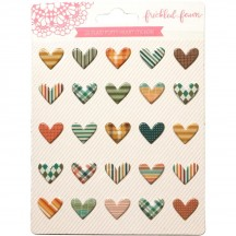 Freckled Fawn Plaid Puffy Heart Stickers