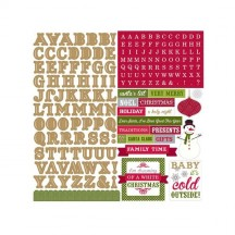"""Echo Park Home For The Holidays 12""""x12"""" Alpha Letter Stickers HFH73015"""