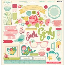 """My Mind's Eye Hello Gorgeous 12""""x12"""" Adhesive Chipboard Elements HG1016"""