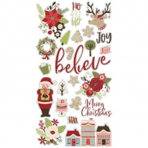 Simple Stories Holly Jolly Christmas Self Adhesive Chipboard Shape Stickers 11419
