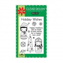 """Hero Arts Christmas Holiday Dolls 4""""x6"""" Clear Stamp Set CL357"""