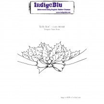 IndigoBlu Holly Bow A6 Christmas Cling Mounted Rubber Stamp IND0127